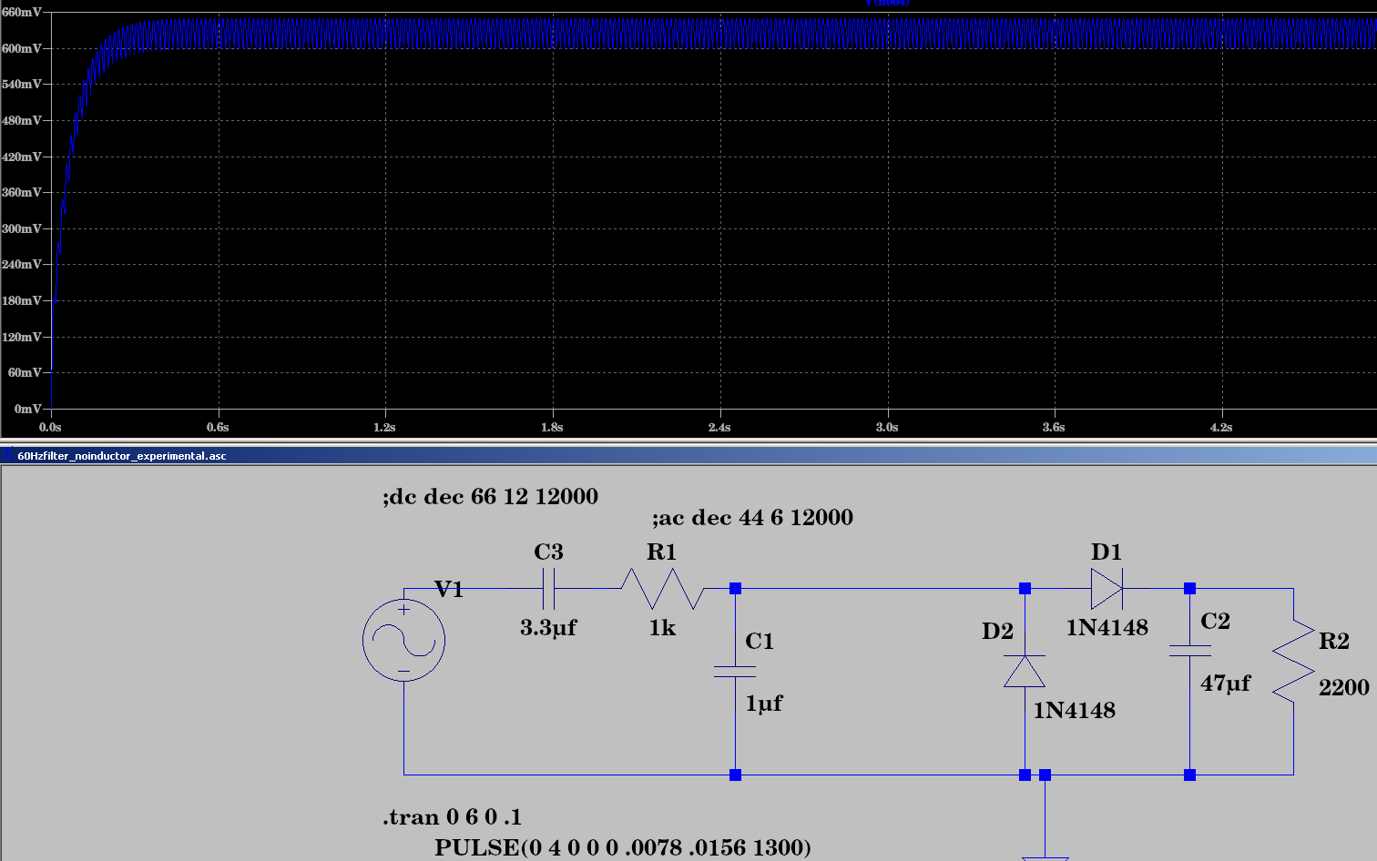 LTspice 60Hz for 1second goes through to Q2 as 0.7vdc.png