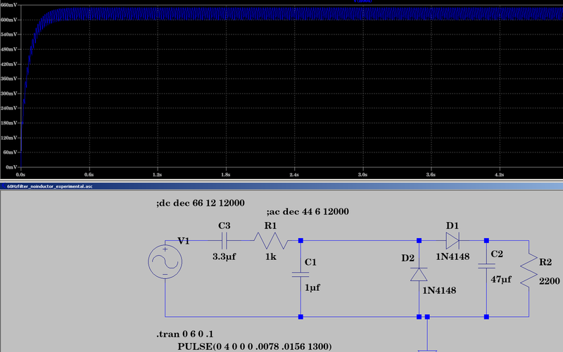 File:LTspice 60Hz for 1second goes through to Q2 as 0.7vdc.png